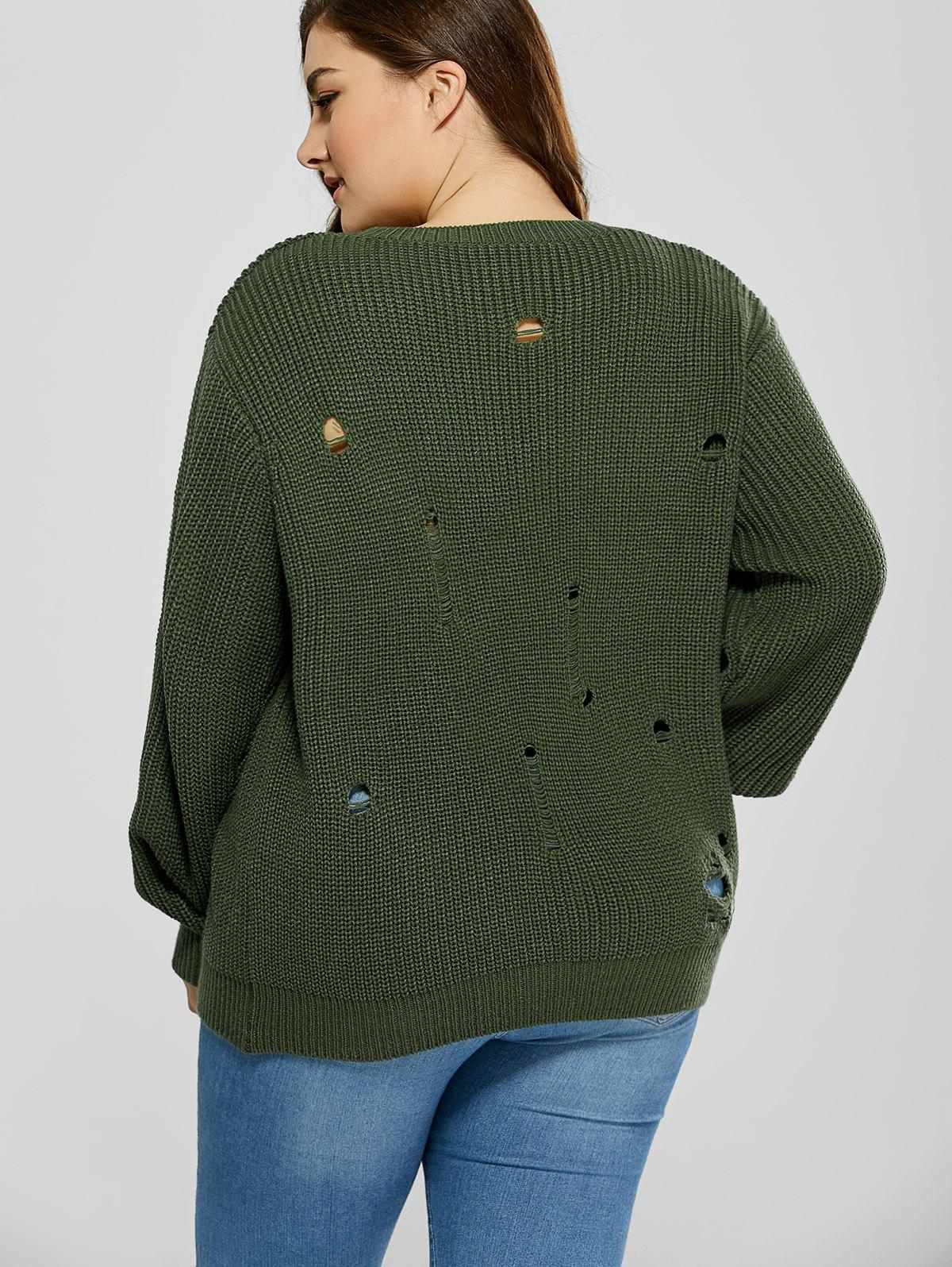 2018 Plus Size Ripped Crew Neck Ribbed Sweater BLACKISH GREEN XL ...