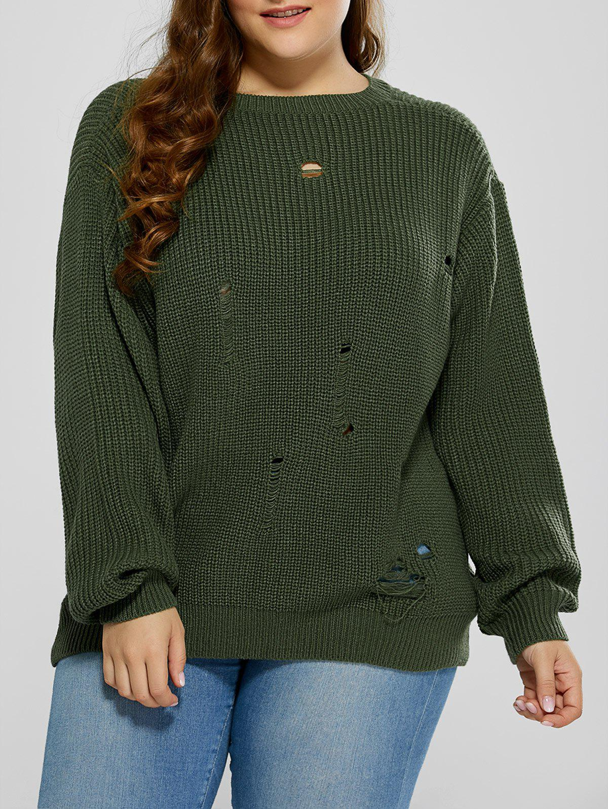 Plus Size Ripped Crew Neck Ribbed Sweater plus size striped crew neck longline sweater