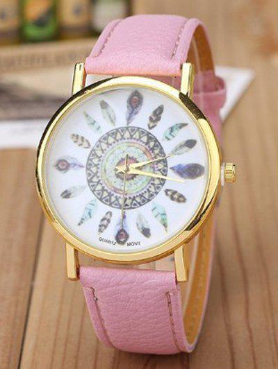 Faux Leather Feather Quartz Watch - PINK