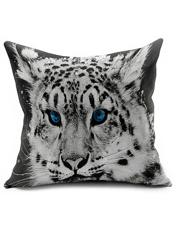 Tiger Head Linen Office Sofa Cushion Pillow Cover - BLACK WHITE