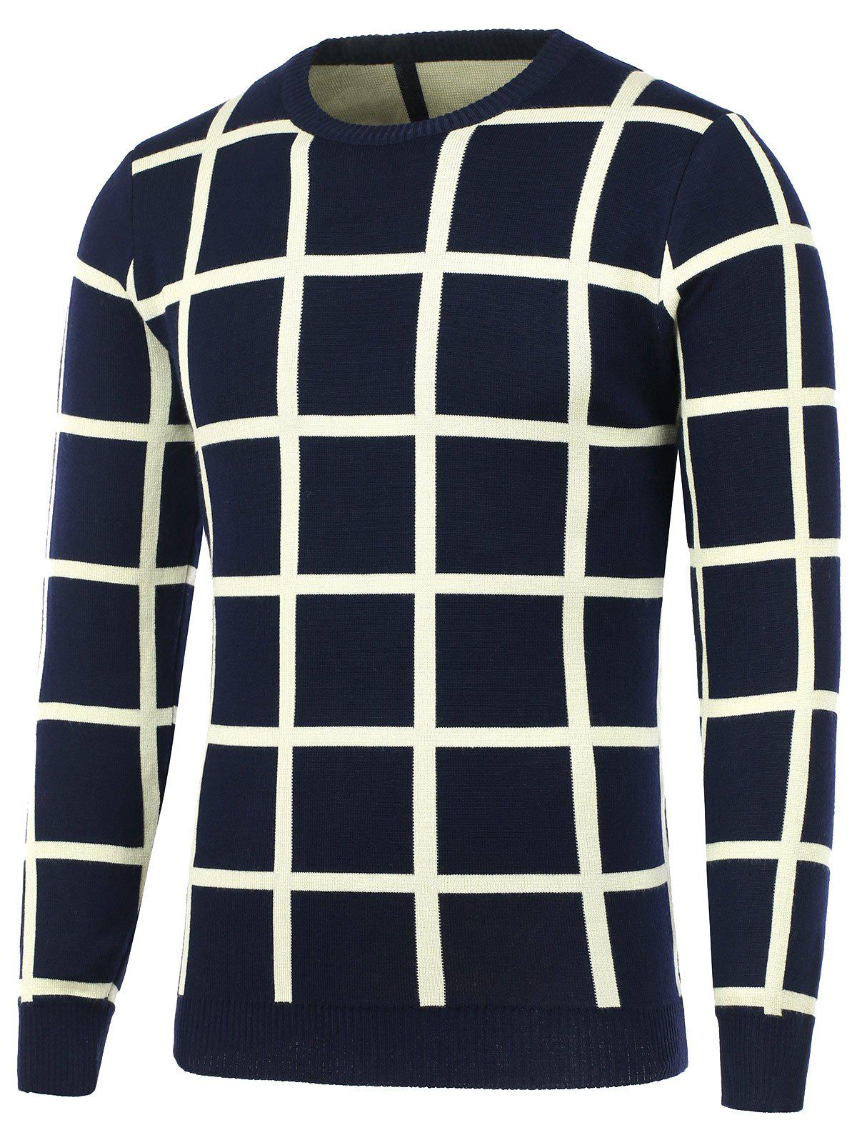 Crew Neck Knitted Grid Sweater - DEEP BLUE L