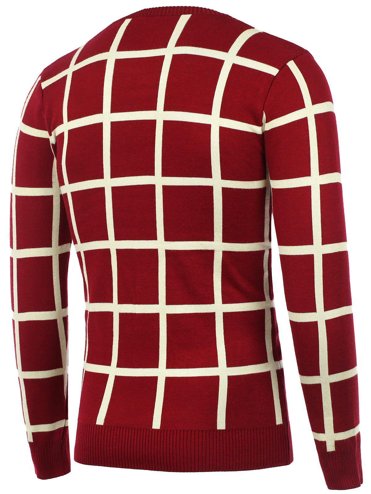 Crew Neck Knitted Grid Sweater - RED 2XL