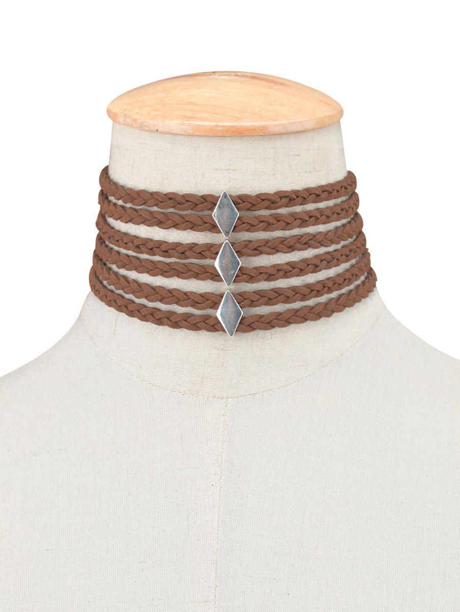 Layered Braid Rope Choker NecklaceJewelry<br><br><br>Color: BROWN