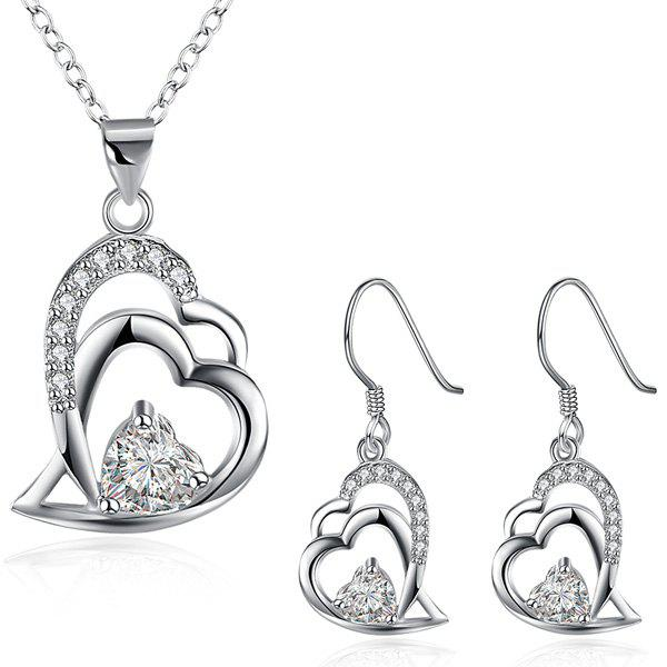 Double Heart Rhinestone Necklace and Earrings - SILVER