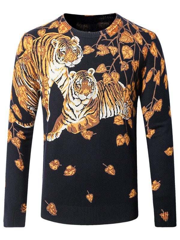 Crew Neck Tiger Pattern Sweater - CADETBLUE M