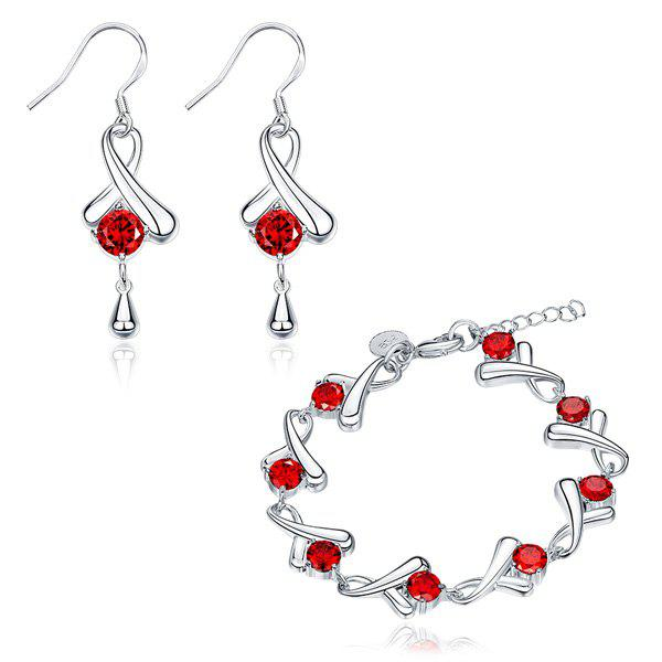 Teardrop Rhinestone Earrings and BraceletJewelry<br><br><br>Color: SILVER