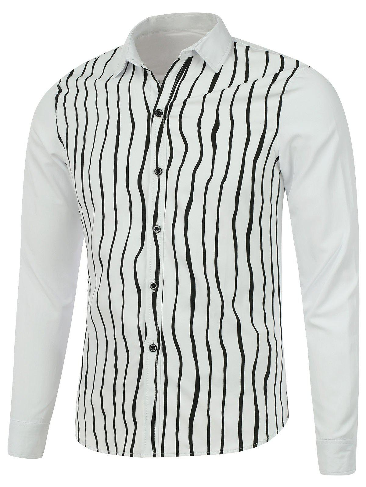 Vertical Striped Long Sleeve Button Up Shirt - WHITE XL