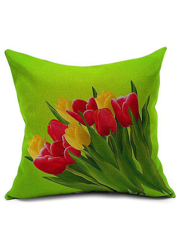 Linen Tulip Printed Cushion Cover Pillowcase - GREEN