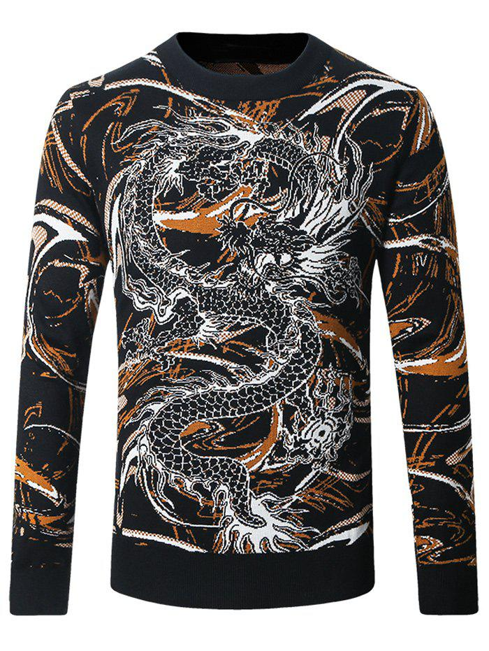 Sweat-shirt ras du cou à motif barbouillage et dragon - Noir XL