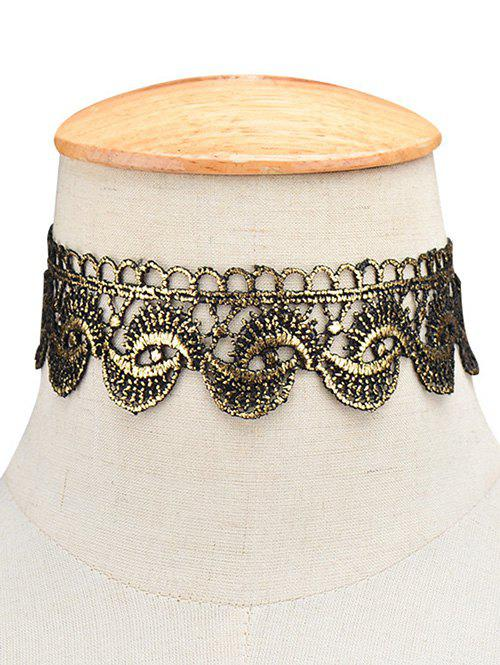 Hollow Retro Wide Choker Necklace - GOLDEN