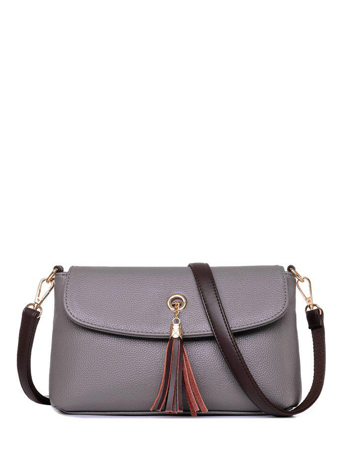 PU Leather Tassel Eyelet Shoulder Bag - GRAY