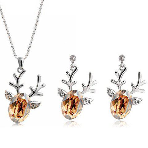Christmas Elk Rhinestone Necklace and Earrings rhinestone artificial pearl christmas elk earrings