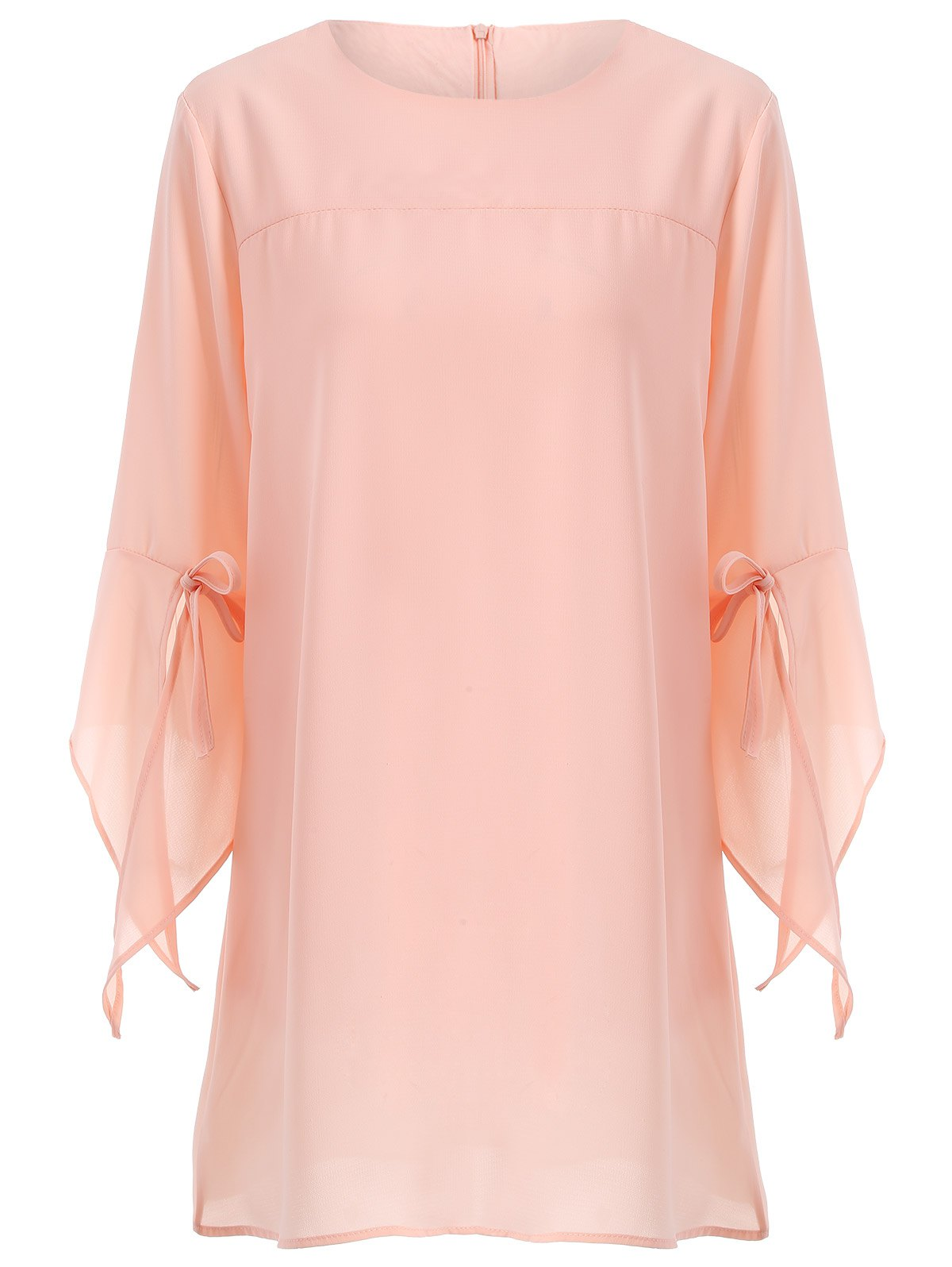 Plus Size Flare Sleeve Bowknot Mini Dress - PINK XL