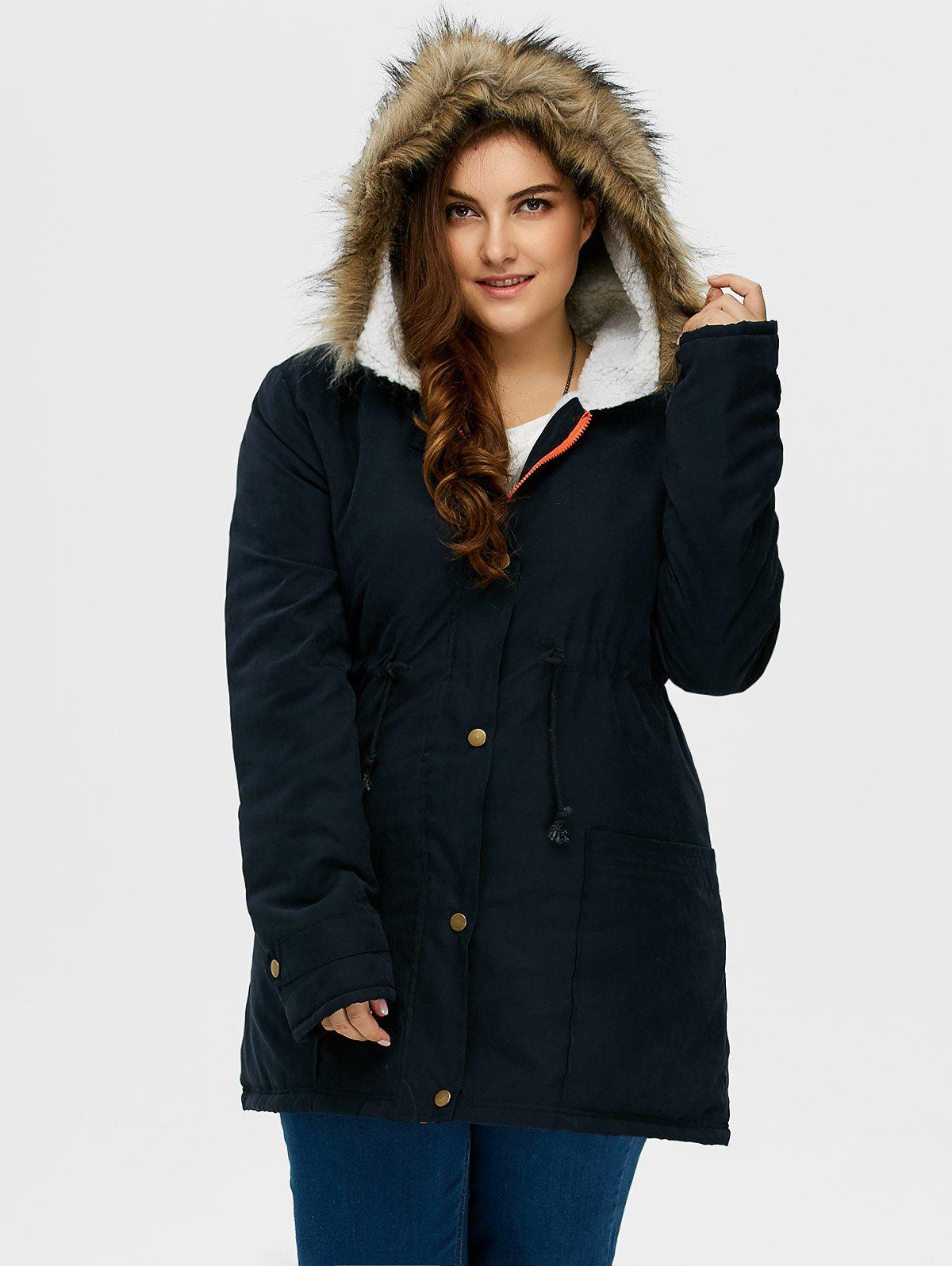 Plus Size Drawstring Hooded Parka Coat With Fur Collar plus size thick winter long jacket women coat fur hooded parka jaqueta feminina chaquetas mujer casacos de inverno feminino 1846
