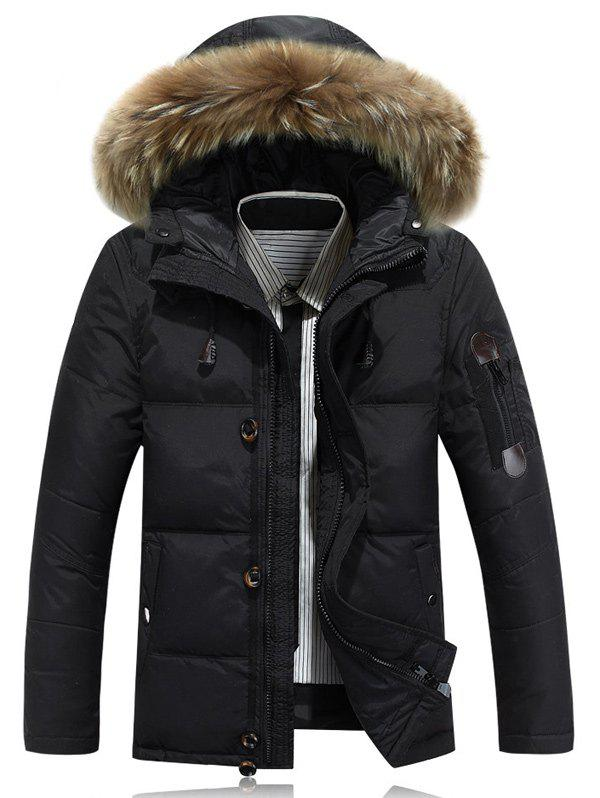 Quilted Zipper Up Jacket with Fur Trim Hood 204273711