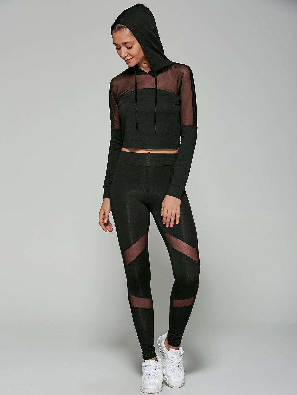 Slimming Cropped Hoodie with Mesh Spliced Leggings - BLACK L