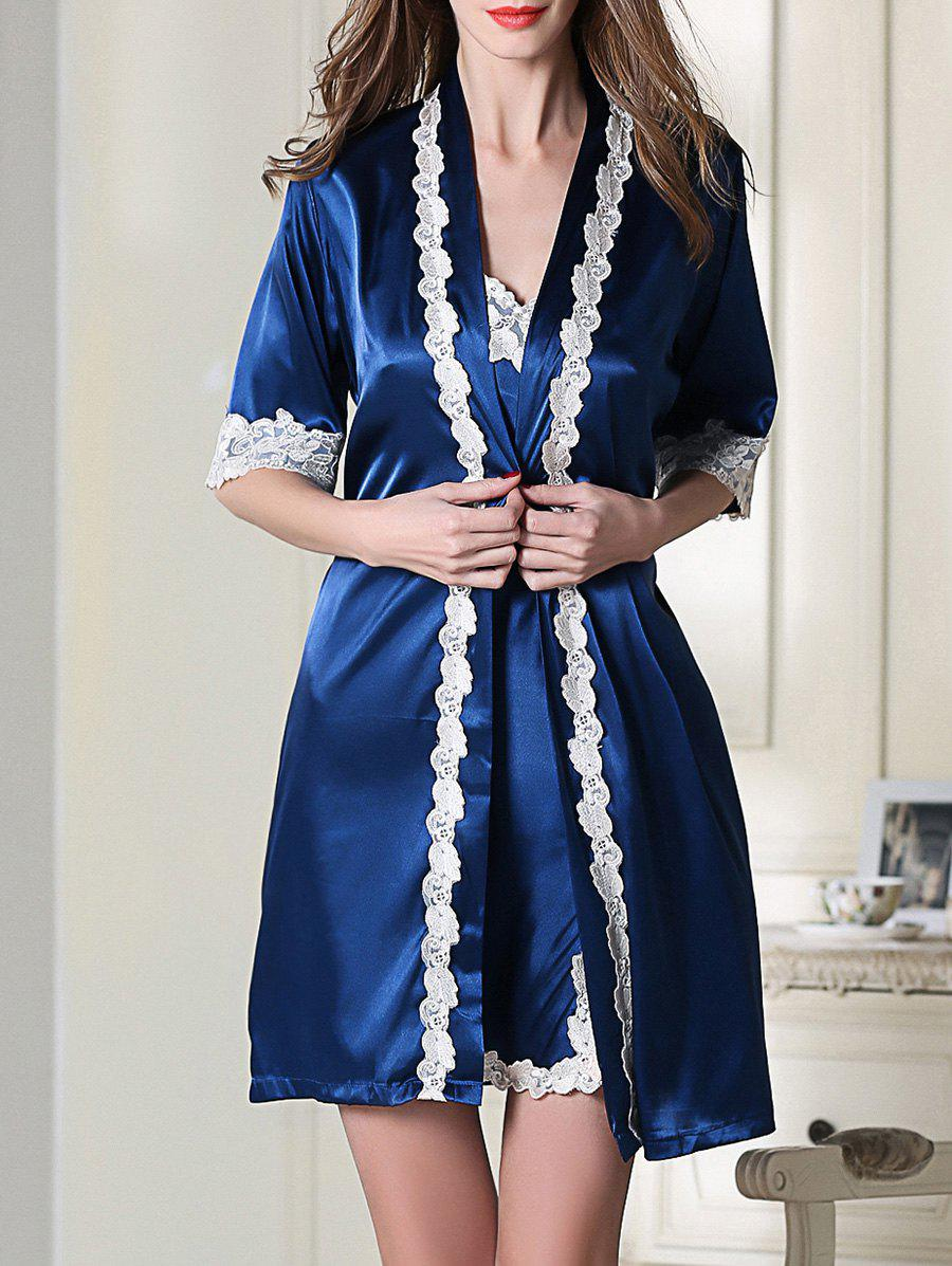 Satin Short Slip Dress and Belted Robe - ROYAL BLUE 2XL