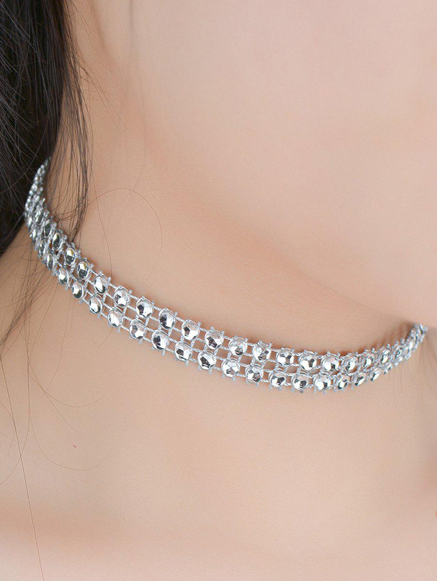 Tiered Plastic Beading Choker Necklace - SILVER