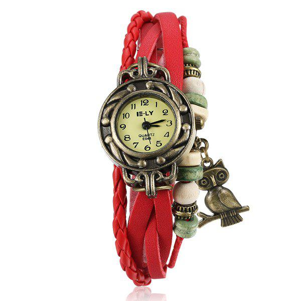 Faux Leather Braid Owl Bracelet Watch - RED
