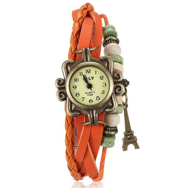 Faux Leather Braid Eiffel Tower Bracelet Watch - ORANGE