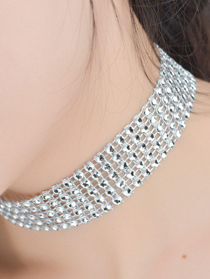 Multi Layered Plastic Beading Choker Necklace - SILVER