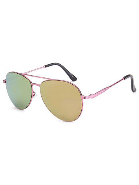 Crossbar Anti UV Metal Pilot Mirrored Sunglasses - PINK