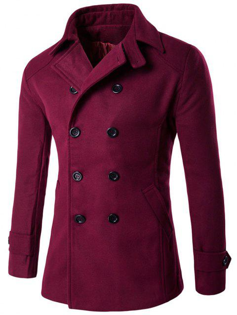 Double Breasted Design Woolen Blends Coat - WINE RED M