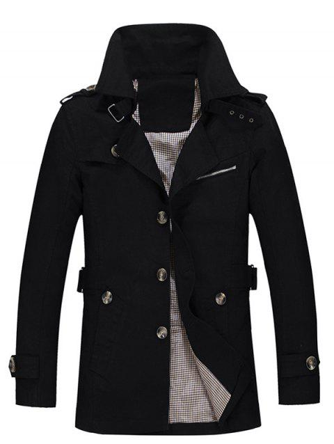 Single Breasted Turndown Collar Epaulet Design Coat - BLACK M