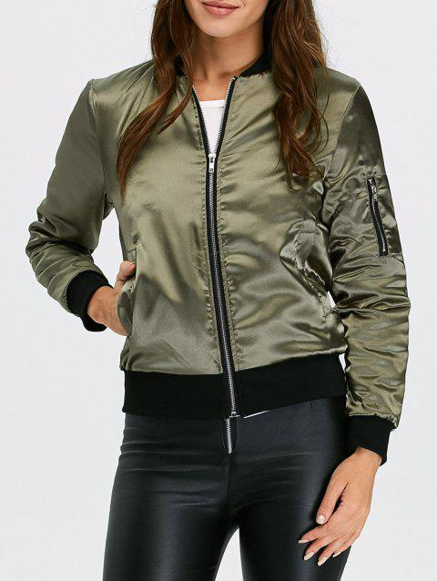Zip Satin Quilted Bomber Jacket - ARMY GREEN 2XL