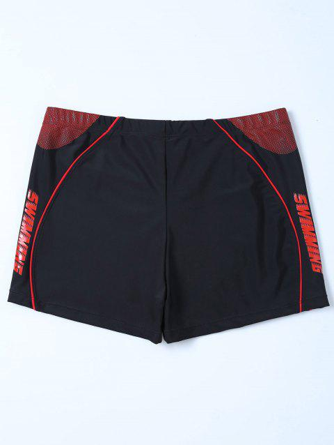 Graphic Contrast Boyshorts Swim Bottom - BLACK 4XL