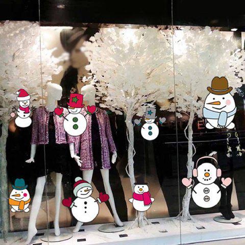 Christmas Removable DIY Snowman Window Wall Stickers - COLORMIX