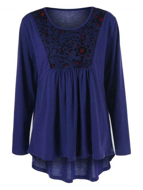 Plus Size Floral Trim High Low T-Shirt - DEEP BLUE 2XL