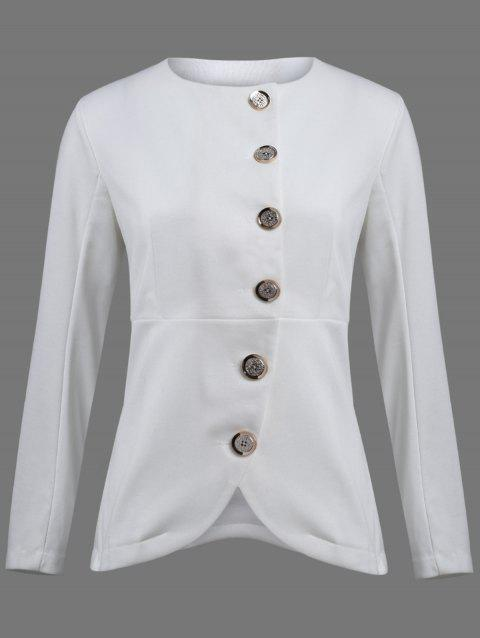 Asymmetric Button Up Blazer - WHITE M