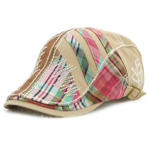 Sewing Thread Plaid Stripy Cabbie Newsboy Cap - LIGHT KHAKI