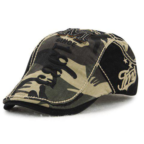 Applique Embellished 1985 Camouflage Newsboy Cap - ARMY GREEN