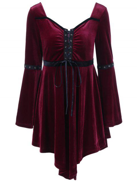 Long Sleeve Velvet Asymmetrical Plus Size Lace Up Dress - WINE RED XL