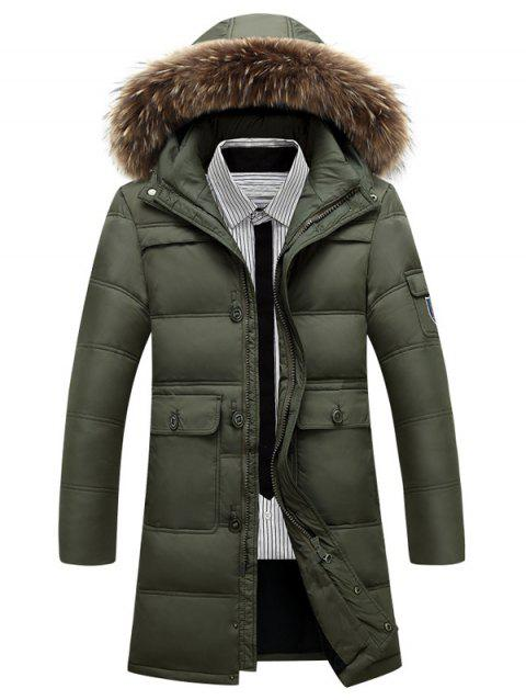 0425530661ac4 2019 Faux Fur Collar Plus Size Longline Zip Up Down Coat In ARMY ...
