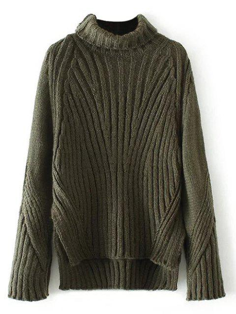Ribbed Turtleneck High Low Hem Sweater - OLIVE GREEN ONE SIZE