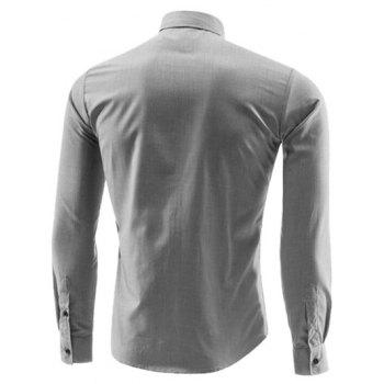 Edge Contrast Color Turn-Down Collar Long Sleeve Shirt - GRAY GRAY