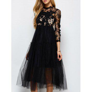 Long Sleeve Lace Sequins Tulle Evening Dress with Bralet Top