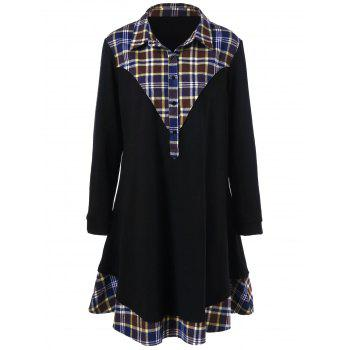 Plus Size Plaid Trim Long Sleeve Dress