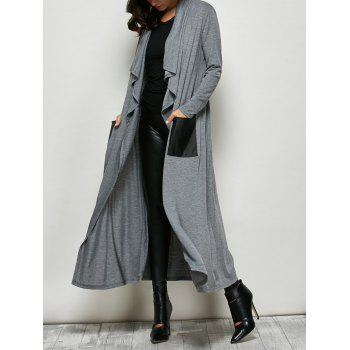 PU Leather Pockets Longline Coat