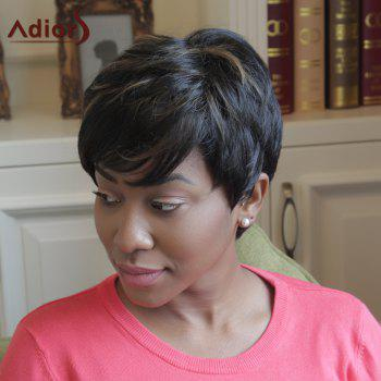 Adiors Shaggy Side Bang Short Highlight Synthetic Wig - COLORMIX