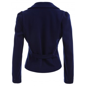Lapel Button Up Blazer - PURPLISH BLUE L