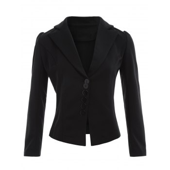 Lapel Button Up Blazer - BLACK L