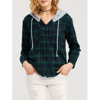 Button Up Hooded Flannel Plaid Shirt