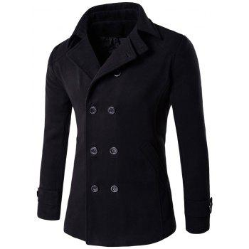 Double Breasted Design Woolen Blends Coat