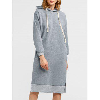 Slit Drawstring Fleece Hoodie Dress