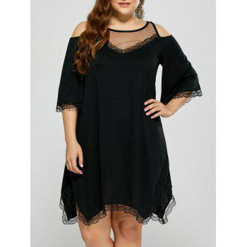 Cold Shoulder Sheer Mesh Plus Size Club Dress
