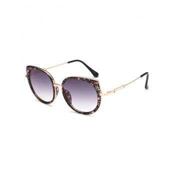 Metal Full Rims Floral Cat Eye Sunglasses